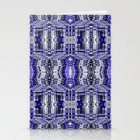 Blue Tribal Glitch Stationery Cards