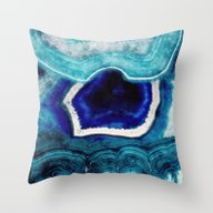 Abstract Blue Agates Throw Pillow