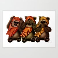 STAR WARS The Three Wise Ewoks Art Print