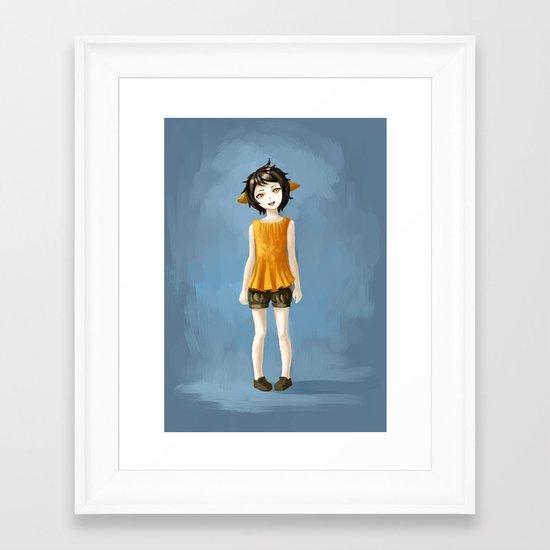 Girl in shorts Framed Art Print