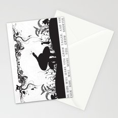 Alice's Adventures In Wonderland Black and White Illustrated Quote Stationery Cards