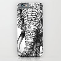 black iPhone & iPod Cases featuring Ornate Elephant by BIOWORKZ