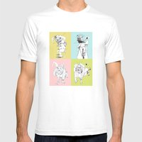 4 Little Animals Mens Fitted Tee White SMALL