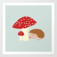 Hedgehog With Mushrooms Art Print