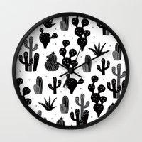 Cactus garden black and white Wall Clock