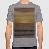 California Sunset Over Ocean Mens Fitted Tee Athletic Grey SMALL