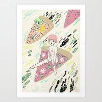 Pizza Riders Art Print