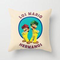 Los Mario Hermanos Throw Pillow
