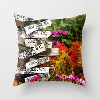 Signpost in the Fall Throw Pillow