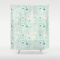 Blue Scribbles 04 Shower Curtain