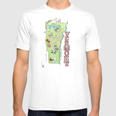 VERMONT White Mens Fitted Tee SMALL
