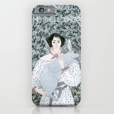 Girl and rabbit among flowers iPhone 6 Slim Case