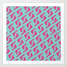 Mint and pink guns Art Print