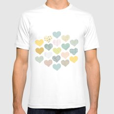 hearts pattern Mens Fitted Tee White SMALL