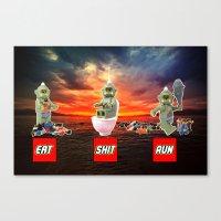 EAT SHIT RUN CYCLOPS LEGO Canvas Print