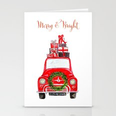 Red Christmas Car - white  Stationery Cards