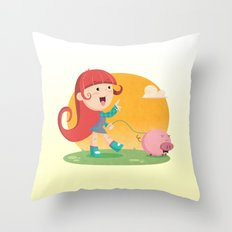 Lilly and Piggy Throw Pillow