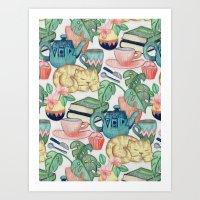 Lazy Afternoon - a chalk pastel illustration pattern Art Print