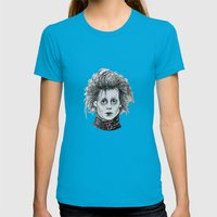 Scissorhands Womens Fitted Tee Teal SMALL