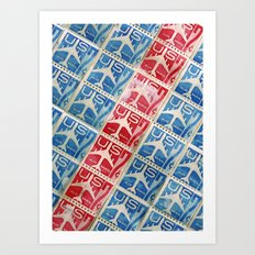 Vintage Postage Stamp Collection - 03 (airmail diagonal) Art Print