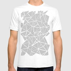 Abstraction Linear Inverted Mens Fitted Tee SMALL White