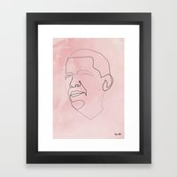 One line Obama Framed Art Print