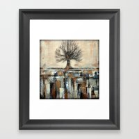Tree In Brown And Gold T… Framed Art Print