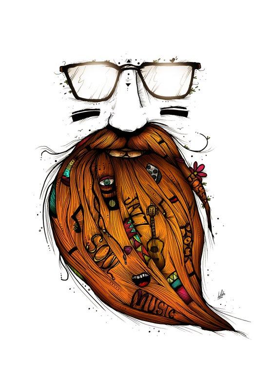 Beard Me Some Music (Color Version) Art Print