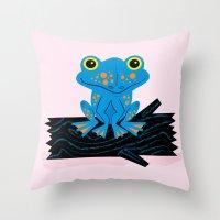Frog On A Log Throw Pillow