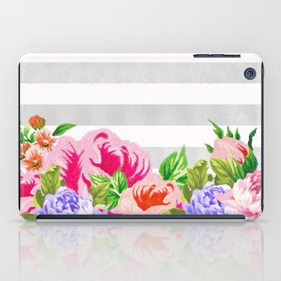 FLORAL GRAY STRIPES iPad Case