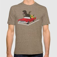 Jurassic Parking Only Mens Fitted Tee Tri-Coffee SMALL