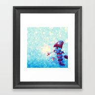Cute Snowman Watercolor … Framed Art Print