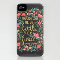 iPhone 4s & iPhone 4 Cases featuring Little & Fierce on Charcoal by Cat Coquillette
