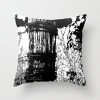 Barbed Wire Fence Post B… Throw Pillow