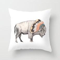 White Bison Throw Pillow