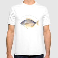 Stop the plastic pollution of oceans and seas! SMALL White Mens Fitted Tee