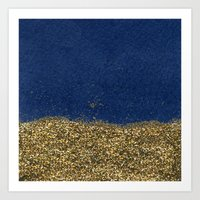 Dipped In Gold, Navy Art Print