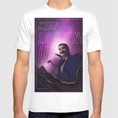 Keep Looking Up White SMALL Mens Fitted Tee