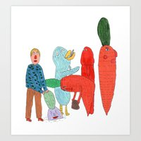 Friends and the garden. Art Print