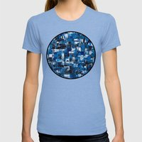 Blue Blade Painting Womens Fitted Tee Tri-Blue SMALL