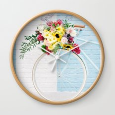 Floral Bicycle Stripe Wall Wall Clock