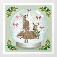 Snow globe deer Art Print