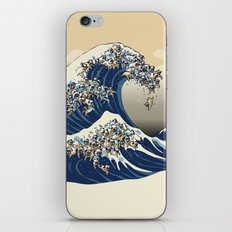 The Great Wave of Pugs Vanilla Sky iPhone & iPod Skin