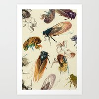 floral Art Prints featuring summer cicadas by Teagan White