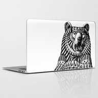 Laptop & iPad Skin featuring Ornate Grizzly Bear by BIOWORKZ