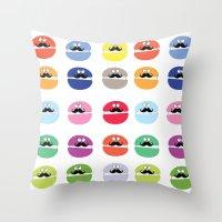 mustache macarons Throw Pillow