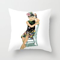 Girl And Bird Throw Pillow