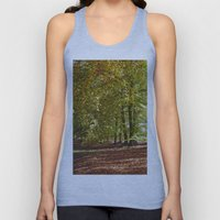 Autumnal beech trees in a natural woodland. Norfolk, UK. Unisex Tank Top