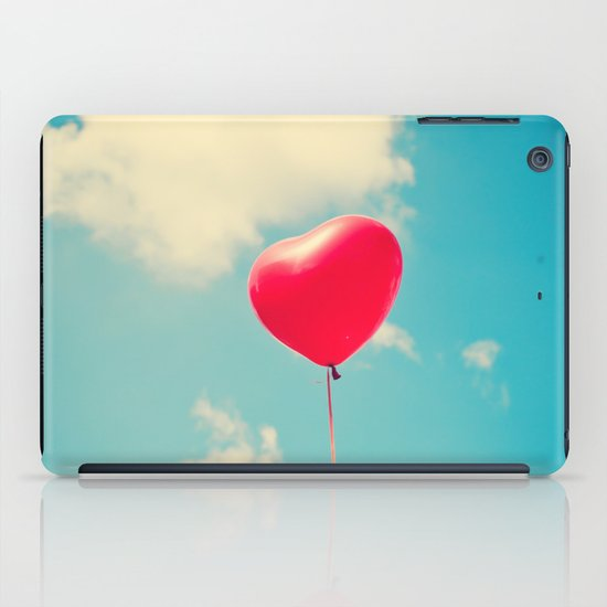 Love is in the air (Red Heart Balloon on a Retro Blue Sky) iPad Case