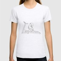 R2D2 black and white Womens Fitted Tee Ash Grey SMALL